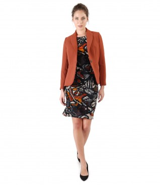 Office outfit with dress made of brocaded velvet and jacket