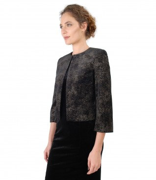 Bolero made of printed elastic velvet