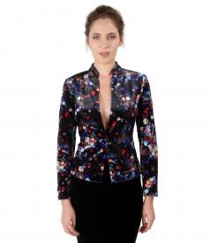 Velvet jacket with floral motifs