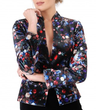 Velvet jacket with floral motifs