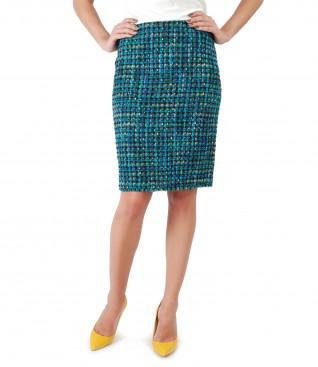 Multicolor loop skirt with wool