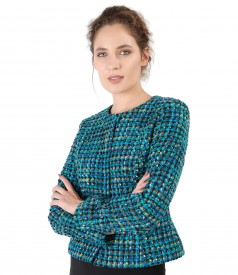 Jacket made of multicolor loops with wool
