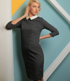 Office dress made of thick elastic jersey with a white collar