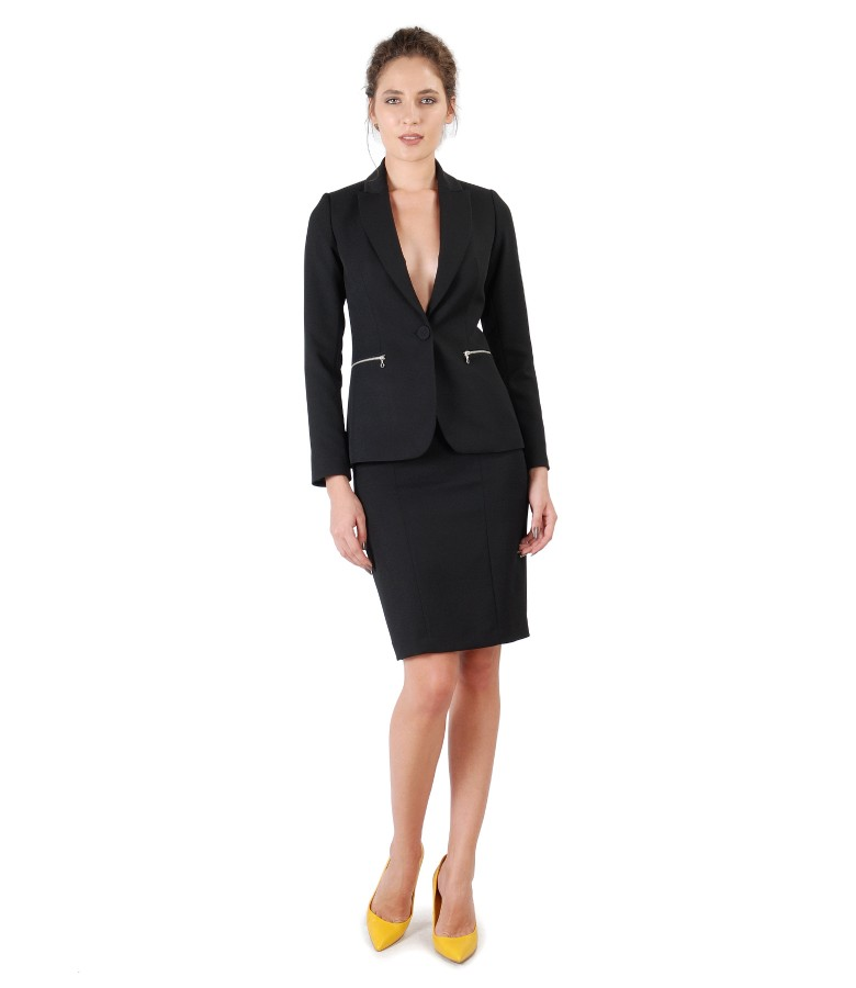 Office women suit with jacket and skirt with decorative zippers
