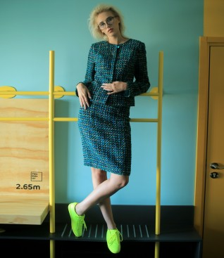 Office women suit with jacket and loop with wool skirt