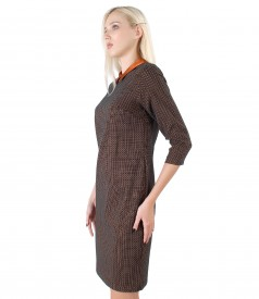 Office dress made of thick elastic jersey with collar
