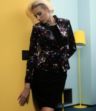 Black velvet dress with velvet jacket with floral motifs