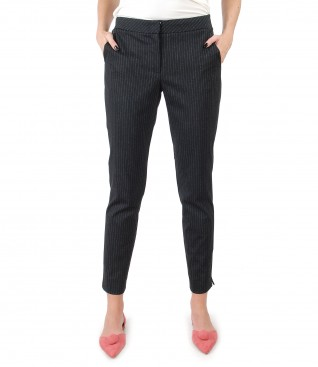 Trousers made of thick elastic jersey with stripes