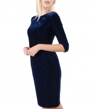 Midi dress made of elastic velvet embellished with crystals from Swarovski