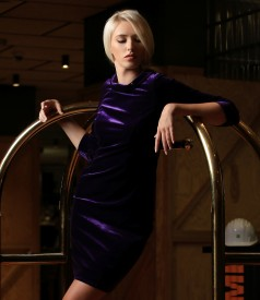 Elastic velvet dress embellished with crystals from Swarovski