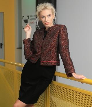 Brocade jacket with black velvet dress