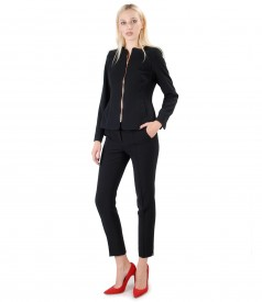 Womens office suit with jacket and trousers in black elastic fabric