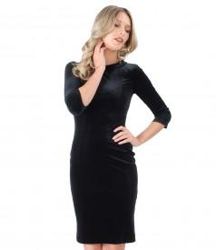 Elastic velvet dress embellished with crystals from Swarovski