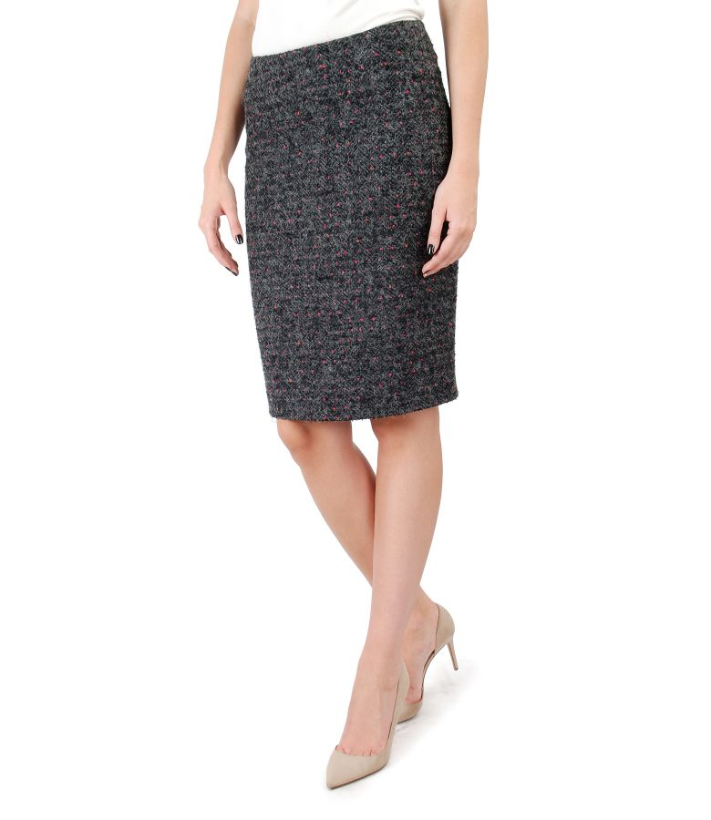 Multicolor loop skirt with wool