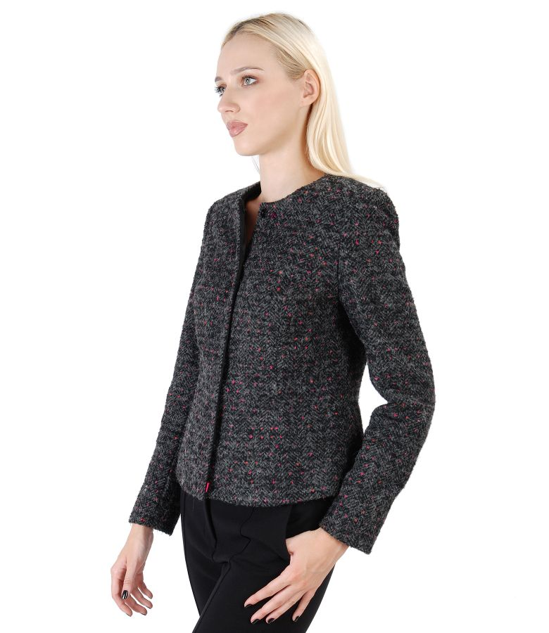 Loop jacket with wool and alpaca embellished with crystals