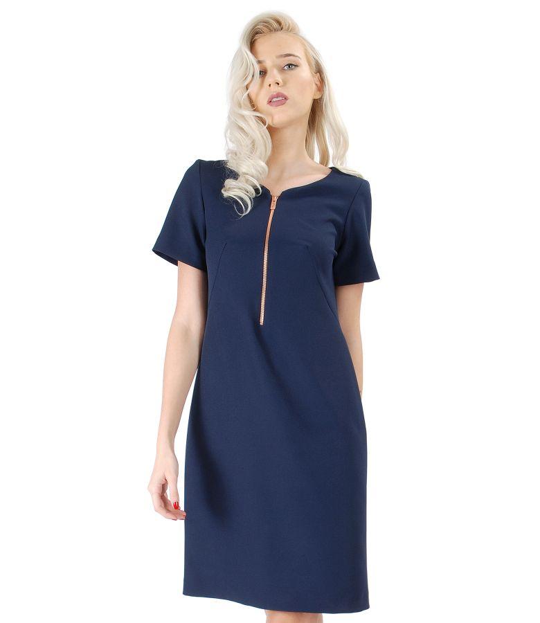 Elastic fabric dress with zipper