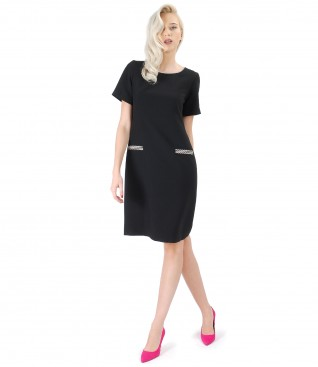 Elegant dress made of black elastic fabric