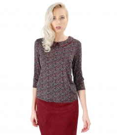 Elegant elastic jersey blouse with floral print