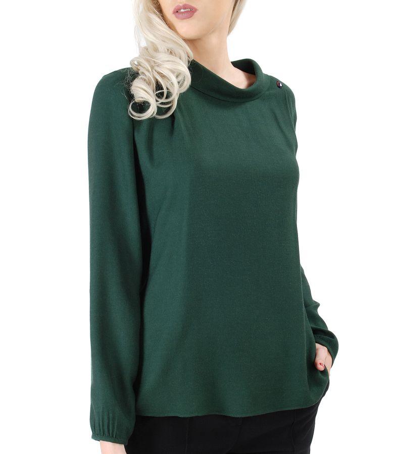 Bluza din vascoza cu lana si aplicatie de cristale Swarovski