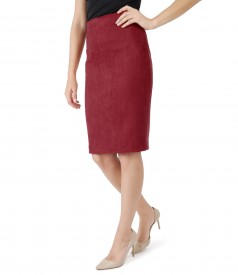 Tapered skirt with velvet look