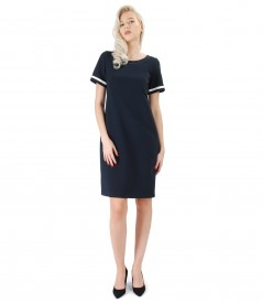 Dress with ecological leather trim