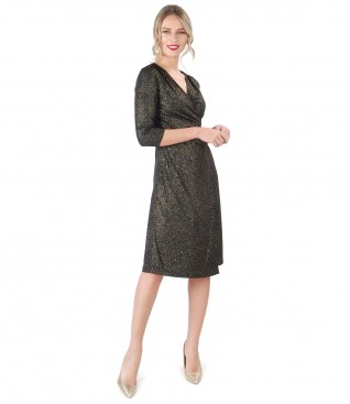 Elastic jersey dress with glossy effect