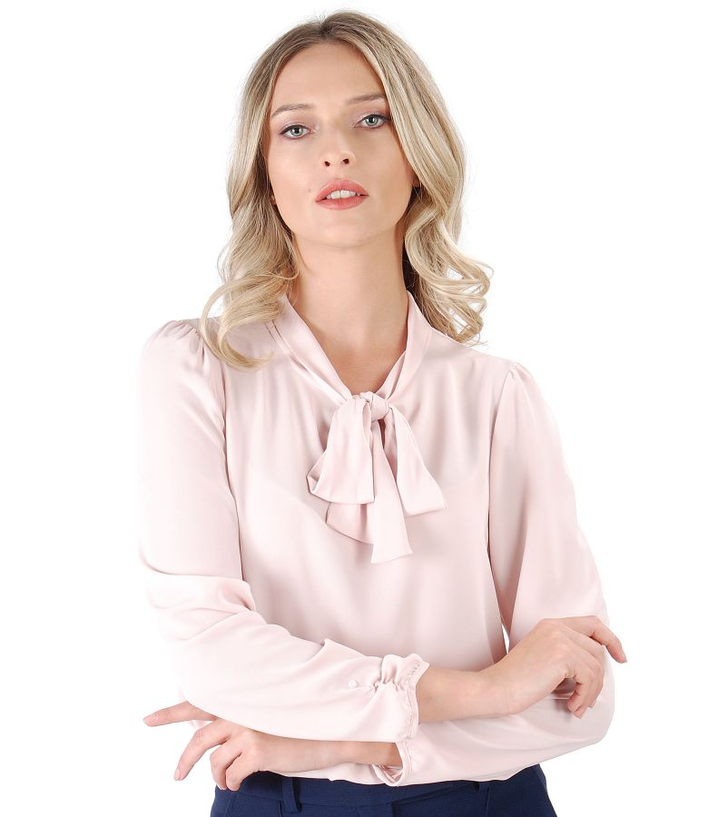 Blouse with long sleeves and scarf collar
