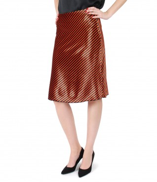 Elastic velvet skirt with stripes
