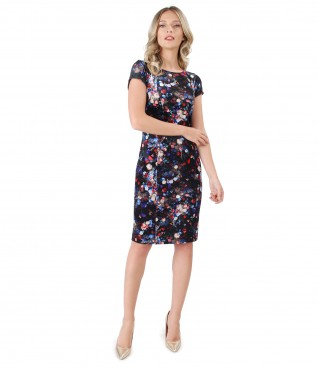 Elastic velvet dress with floral motifs