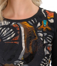 Elastic jersey blouse with brocaded velvet front