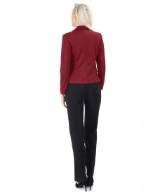 Elegant outfit with velvet look fabric jacket and straight pants