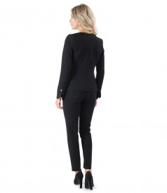 Office women suit with pants and jacket with zipper