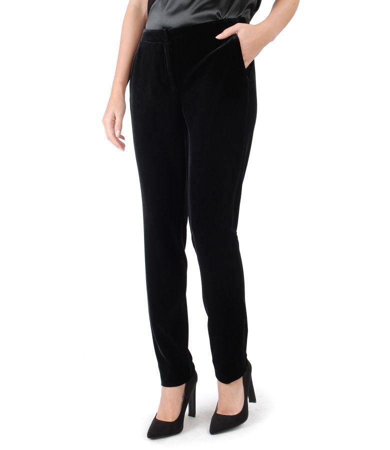 Black elastic velvet pants