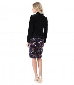 Elegant outfit with velvet dress and velvet jacket