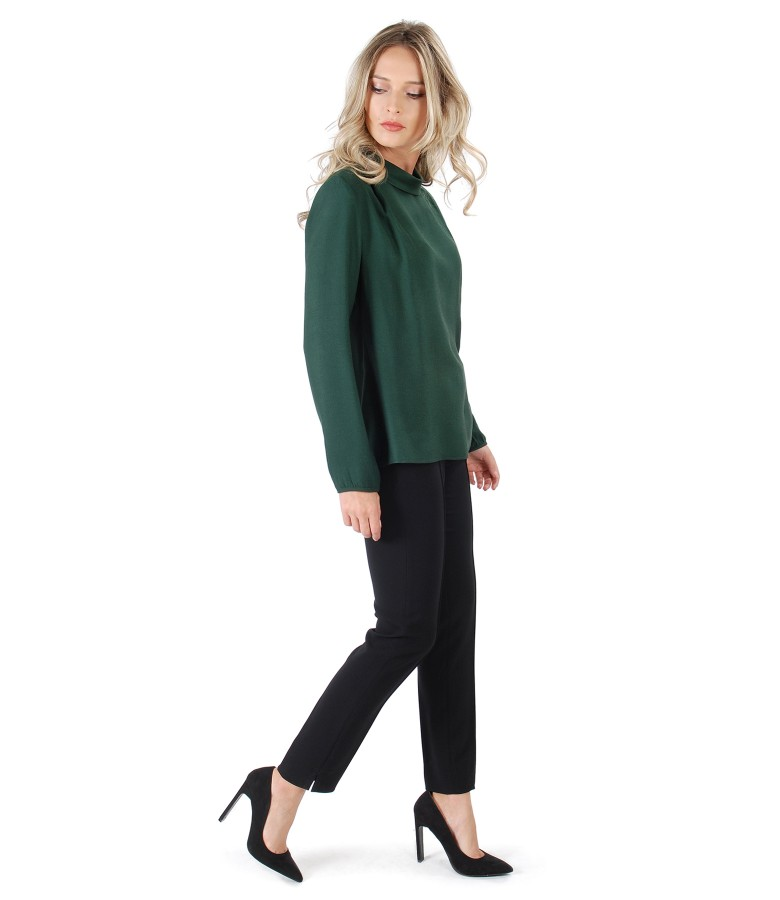 Viscose blouse with wool and ankle pants