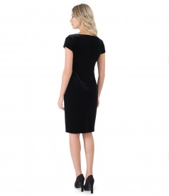 Midi elastic velvet dress with metallic inserts