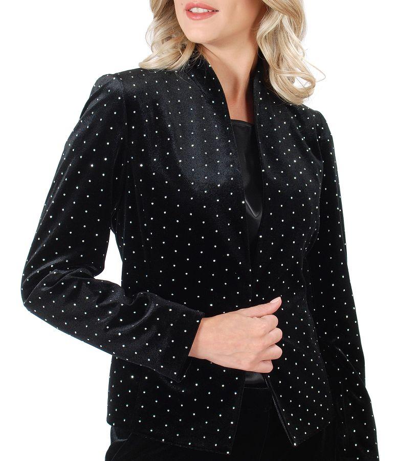 Elastic velvet jacket with metallic inserts