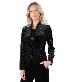 Elastic velvet jacket with metallic inserts
