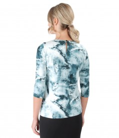 Elastic jersey blouse with bow on decolletage
