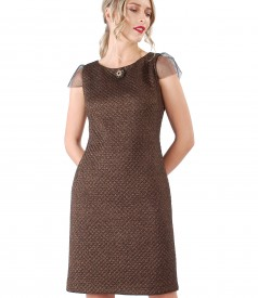 Elastic brocade dress with copper thread