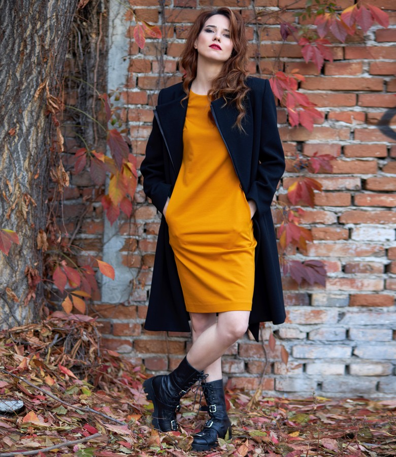 Office dress with spent coat