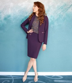 Office women outfit with skirt and jacket with decorative zippers
