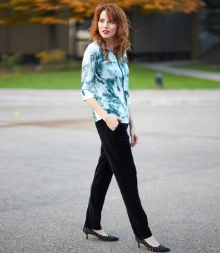 Black velvet pants and blouse with rips bow