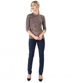 Ankle pants with  printed elastic jersey blouse