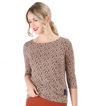 Blouse with decorative flaps