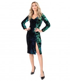 Velvet dress with reversible sequins