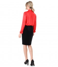 Viscose blouse with black velvet skirt