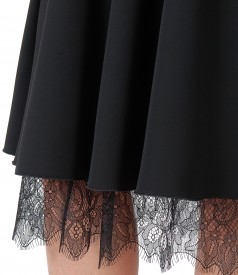 Lace dress with crystals inserts
