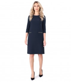 Thick elastic fabric dress  with fake flaps