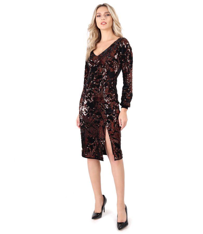 Velvet dress with reversible sequins